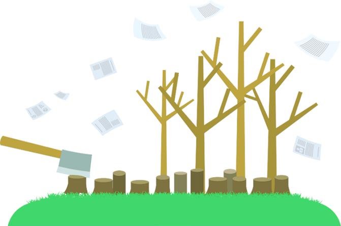 Sustentabilidade - árvores sendo cortadas pelo uso de prontuários de pacientes de papel, enquanto novas árvores são plantadas